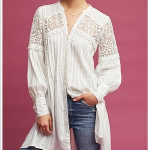 Anthropologie White Lucille Tunic